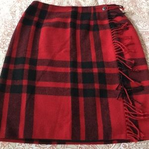 Talbots Wool blend tartan plaid wrap skirt.